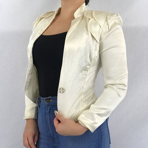 Ivory Satin Cropped Jacket View 1