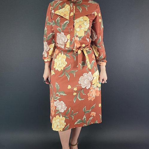 Brown Garden Floral Midi Shirt Dress View 1