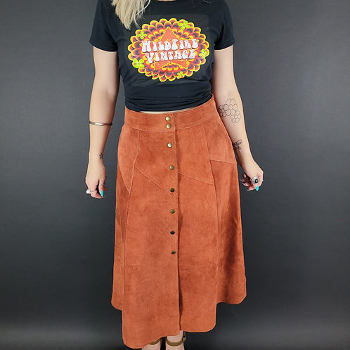 Burnt Orange Suede Leather Button Front Skirt View 1