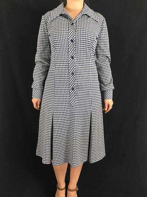 Navy Blue And White Houndstooth Long Sleeve Dress View 1