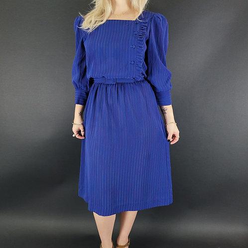 Blue Rainbow Striped Secretary Dress View 1