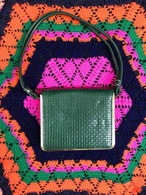 Dark Green Textured Patent Leather Handbag View 1