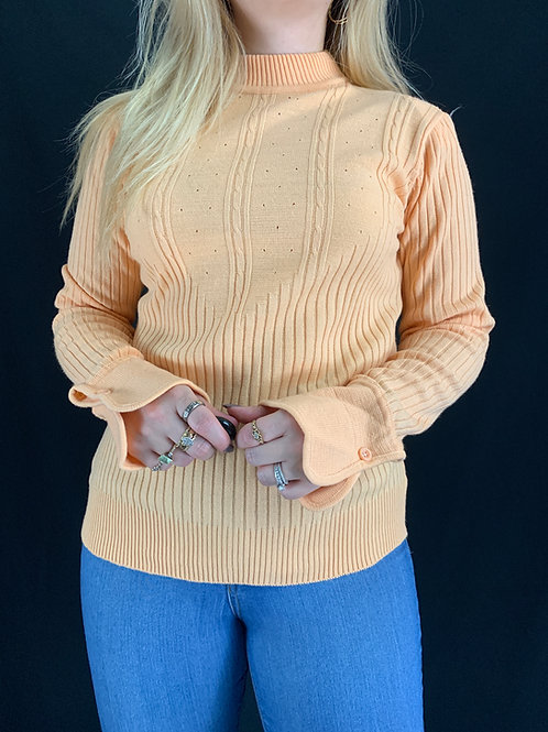 Pale Peach Ribbed Sweater View 1