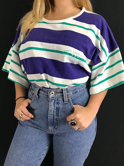Striped Oversized Boxy T-Shirt View 1