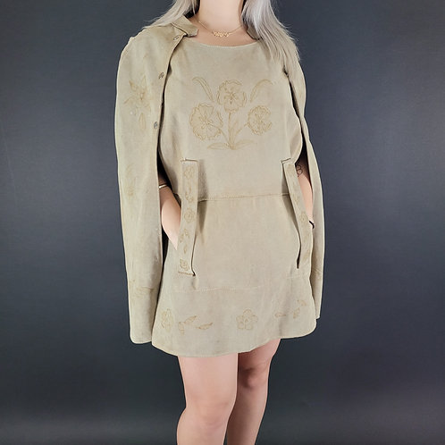Light Tan Floral Tooled Leather Suede Cape Poncho View 1