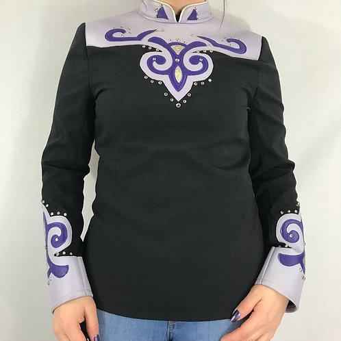 Black And Purple Western Rail Show Long Sleeve Shirt View 1