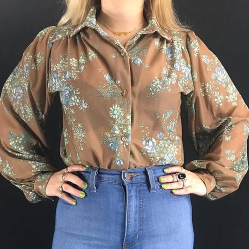 Brown Sheer Floral Long Sleeve Blouse View 1