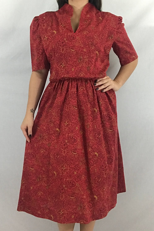 Red Paisley And Floral Print Handmade Dress View 1