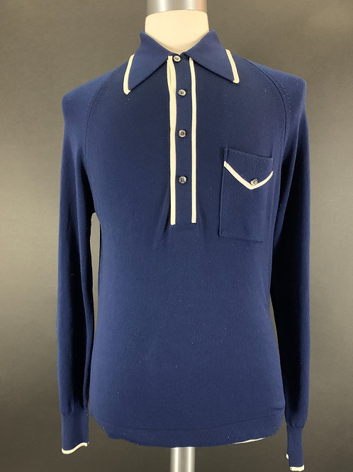 Navy Blue With White Trim Long Sleeve Knit Polo View 1