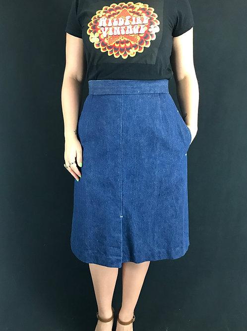 Dark Denim High Waist A Line Skirt View 1