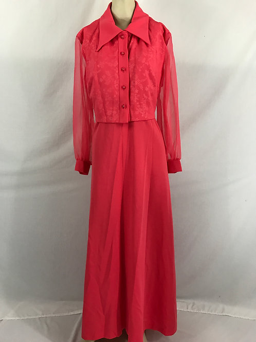 Dark Coral Sleeveless Maxi Dress With Matching Jacket View 1