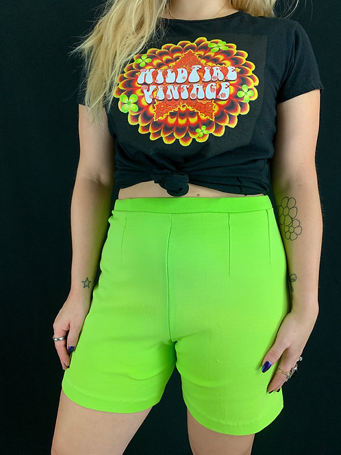 Lime Green High Rise Shorts View 1