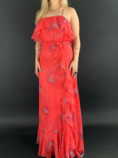 Coral Red Floral Ruffle Spaghetti Strap Maxi Dress View 1