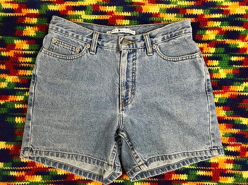 Light Wash Denim Blue Jean Shorts View 1