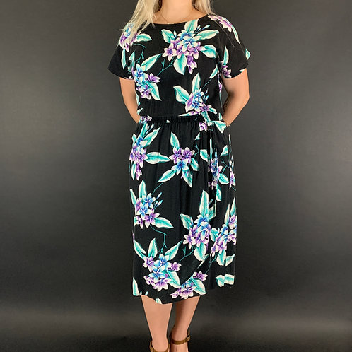 Black Tropical Floral Hawaiian Dress View 1