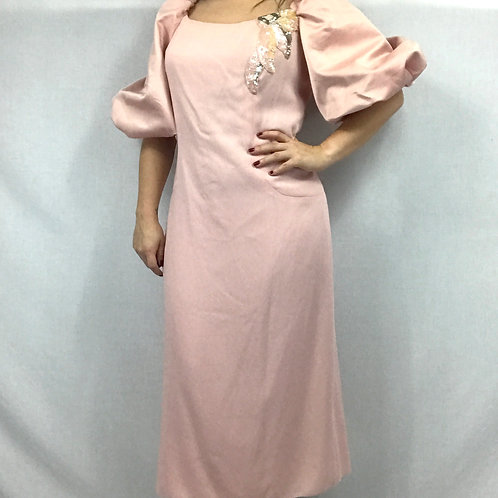 Pale Pink Cocktail Puff Sleeve Dress With Sequin Applique View 1