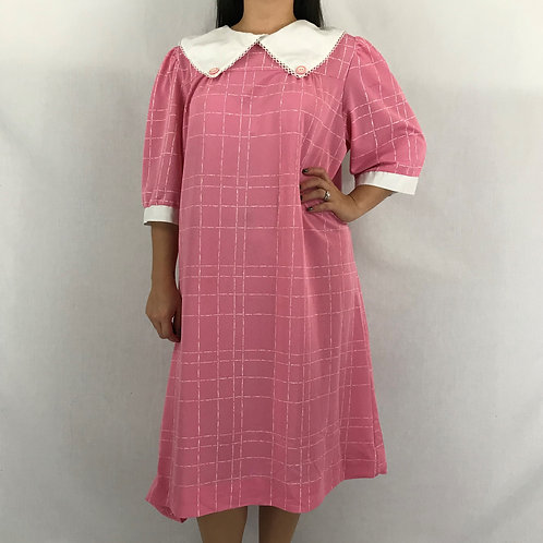 Pink And White Peter Pan Collar Dress View 1