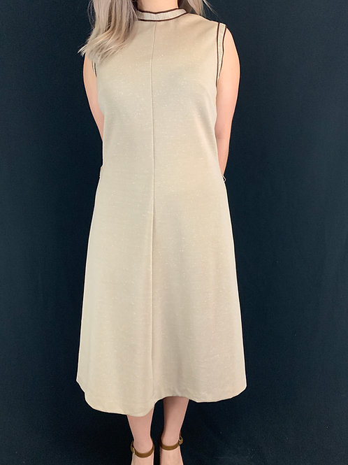 Brown Sleeveless Shift Dress View 1