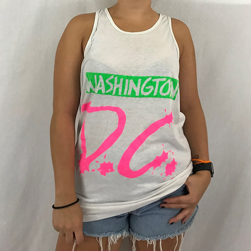White Paper Thin Neon Washington D.C. Tank Top View 1
