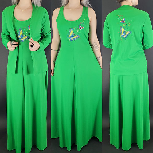 Green Embroidered Butterflies Maxi Dress With Matching Jacket View 1