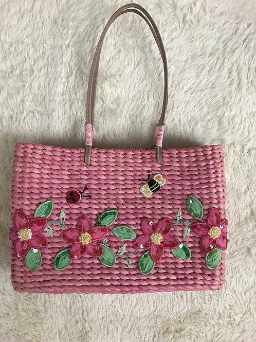 Pink Cornhusk Handbag With Flower Appliques View 1