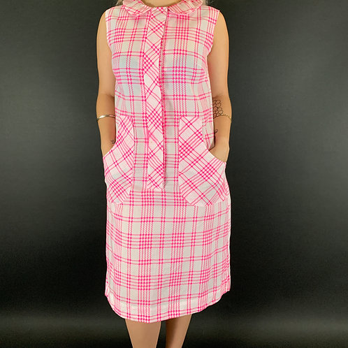 Hot Pink And White Geometric Plaid Sleeveless House Dress View 1