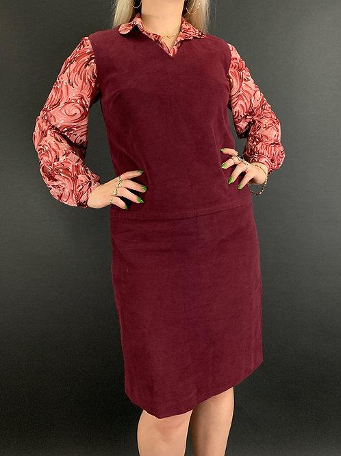 Burgundy Velvet Sleeveless Shift Dress View 1