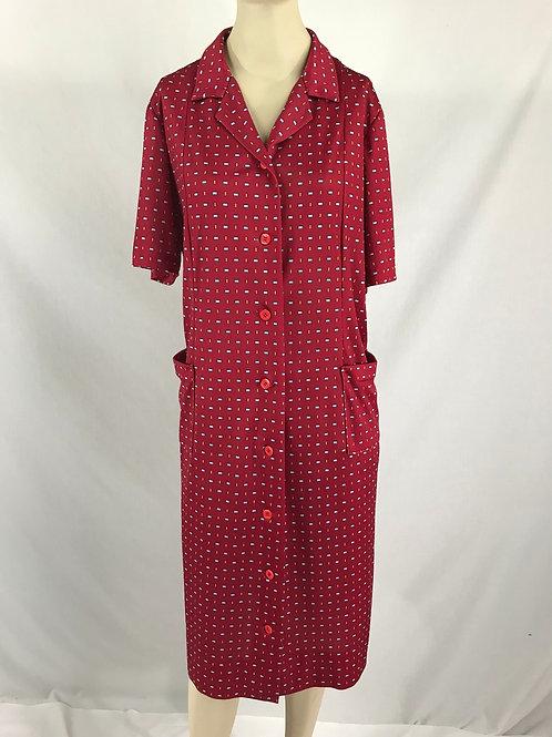Burgundy Geometric Print Short Sleeve House Dress View 1