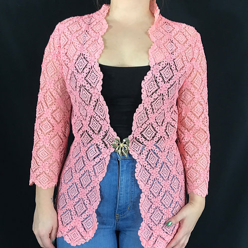 Pink Lace Open Jacket View 1
