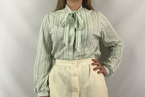 Striped Tie Neck Long Sleeve Blouse View 1