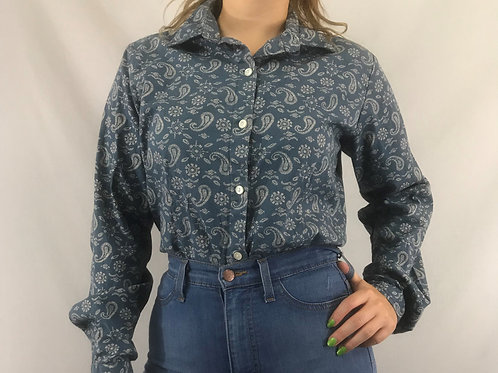 Paisley Print Long Sleeve Button Down View 1