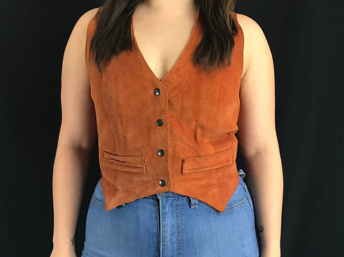 Burnt Orange Suede Leather Snap Button Vest View 1