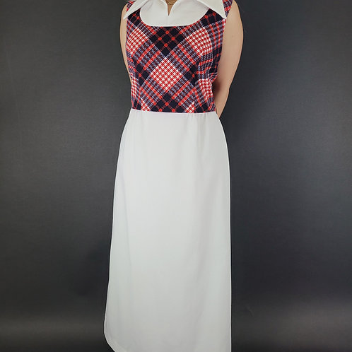 Argyle Print Dagger Collar Sleeveless Maxi Dress View 1