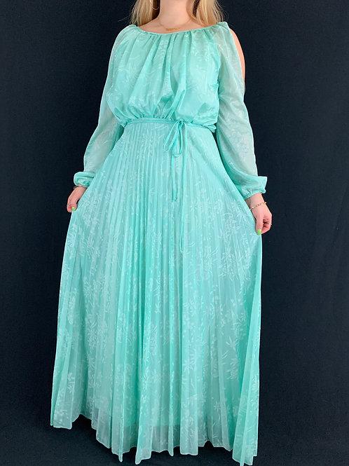 Mint Green Pleated Maxi Dress View 1