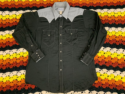 Black And Gray Snap Button Long Sleeve Shirt With Embroidered Bald Eagle View 1