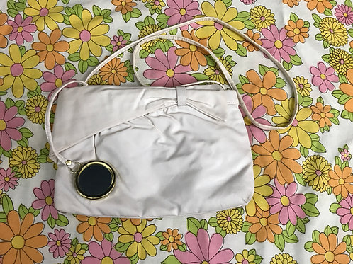 White Faux Leather Purse With Compact Mirror View 1