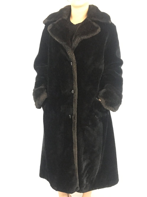 Deep Pile Black And Brown Full Length Faux Fur Coat View 1