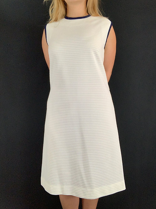 White With Navy Blue Trim Ribbed Shift Dress View 1