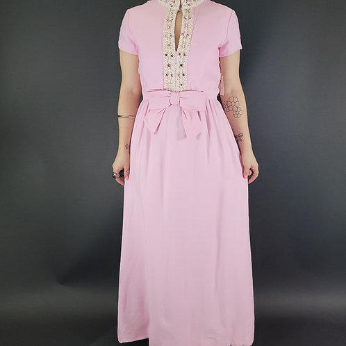 Pink Embellished Keyhole Neckline Formal Maxi Dress View 1