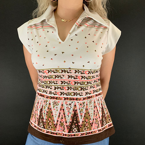 Pink And Brown Geometric Floral Blouse View 1