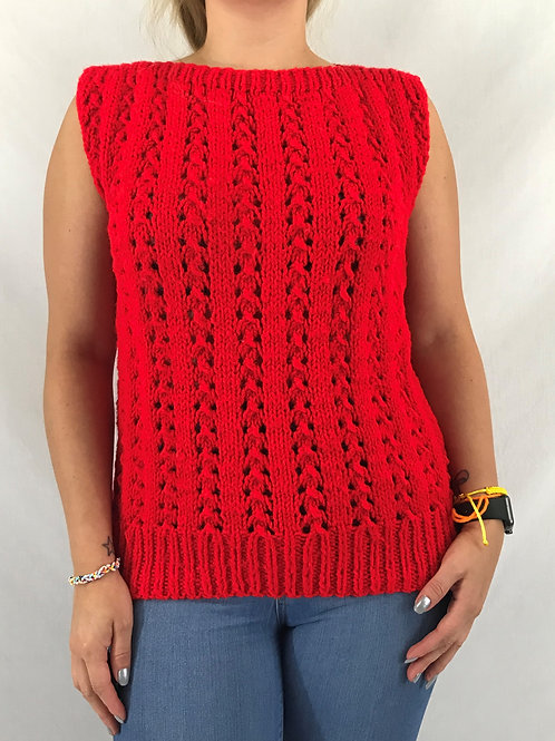 Red Hand Knit Sleeveless Pullover Sweater Top View 1