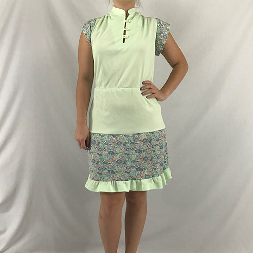 Mint Green And Floral Print Dress View 1