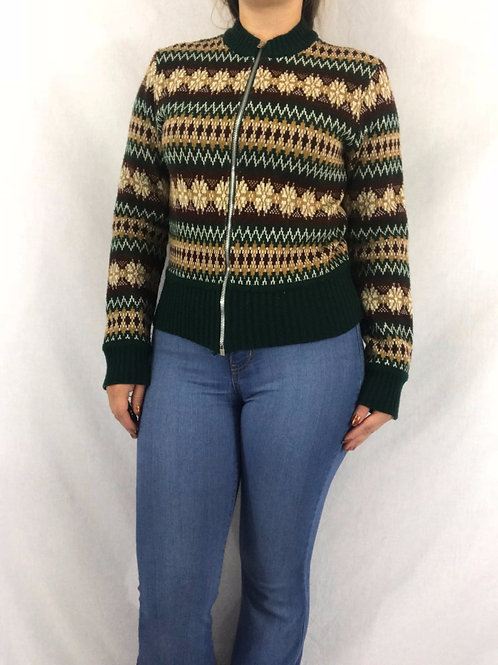 Green Cream And Brown Acrylic Zip Up Sweater View 1