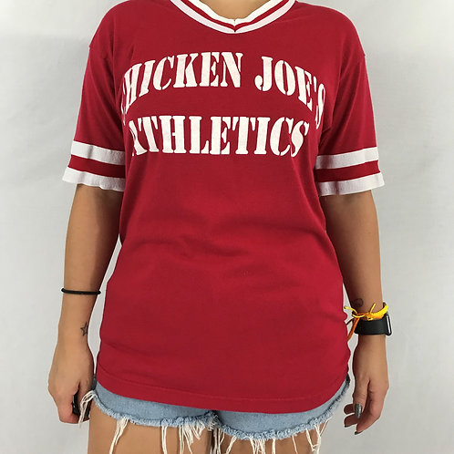 Red And White Chicken Joe's Athletics Ringer T-Shirt View 1