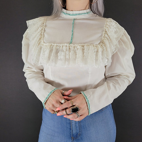 White Linen And Lace Victorian Style Long Sleeve Blouse View 1
