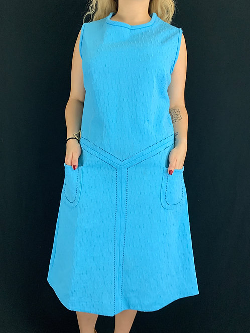 Baby Blue Sleeveless Shift Dress View 1
