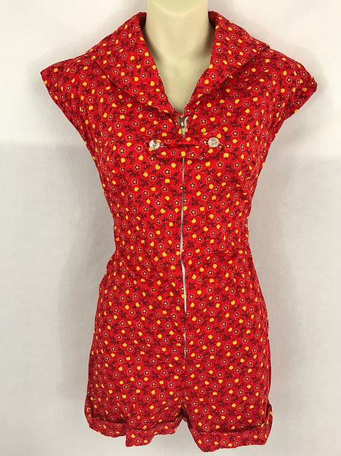 Red Yellow And Black Playsuit With Sailor Collar View 1