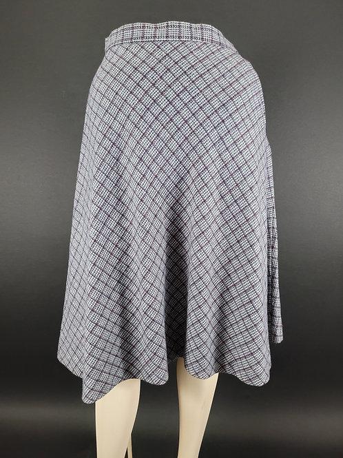 Gray Plaid A-Line Wool Skirt View 1