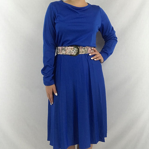 Solid Blue Long Sleeve Midi Dress View 1
