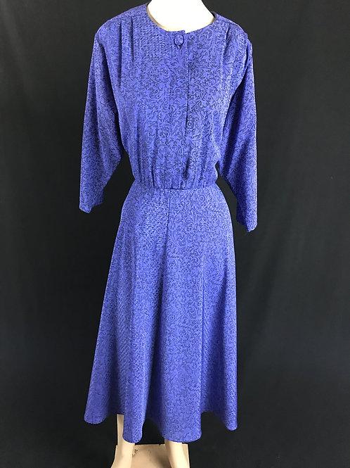 Blue Purple Brocade Shirtwaist Dress View 1